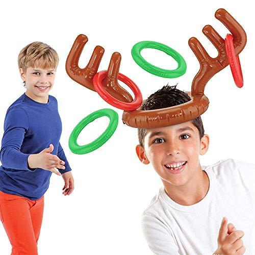 Outdoor-rentier (DOXMAL Hut Geweih Weihnachten Rentier Mütze Outdoor Spiele Ringwurfspiel Spielzeug Aufblasbaren Rentiergeweih Zylinderhut Ringe Werfen Xmas Party Spiel für Kinder (1 stück))