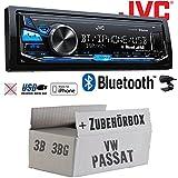 VW Passat 3B + 3BG - JVC KD-X341BT - Bluetooth | MP3 | USB | Android | iPhone Autoradio - Einbauset