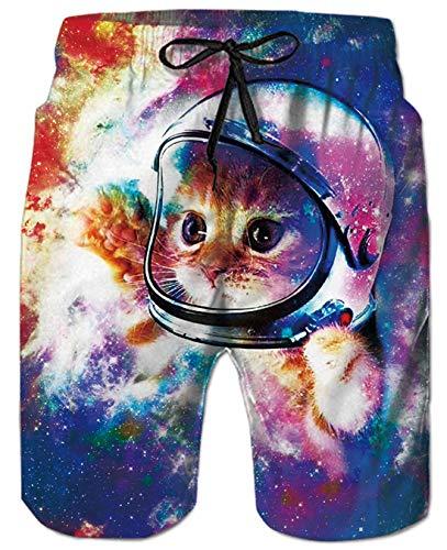 Goodstoworld Bermuda Badeshorts für Herren Junge 3D Galaxy Katz cat Badehose Gedruckt Kordelzug Elastische Taille Strand Sporthose Swim Trunks XL -