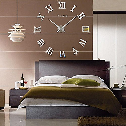 Fas1 modern diy large wall clock big watch decal 3d stickers roman numerals wall clock home office removable decoration for living room silver battery