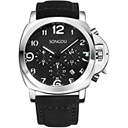 SONGDU Men's Stopwatch with Date Black Luminous Dial Metal Case and Leather Strap