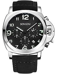 SONGDU Montre chronomètre pour homme avec cadran noir, chiffres lumineux, date en affichage analogique et bracelet en cuir noir
