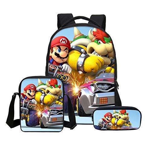 Stampa 3D Super Mario Bros Set di Borse da Scuola, Super Mario Zaino E Astuccio per Studenti Adolescenti Ragazzo Ragazza Resistente all'usura Viaggio Zaino casual Zaino Hipster Daypack (9)