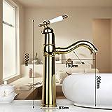 ddkd Golden vergoldet ein Loch Waschbecken Wasserhahn Spüle Deck montieren Waschbecken Armatur Wasserhahn Mischbatterie Spray