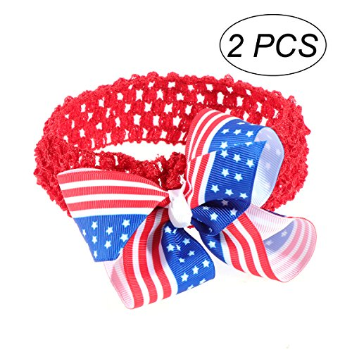 Schätzen Amerikas Nationalen (Tinksky Patriotische Stirnband Amerika Flagge Haarband 4. Juli Kopfschmuck Baby Mädchen Bowknot Haarschmuck für Unabhängigkeitstag Nationalfeiertag 2PCS)