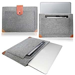 """StyleBitz / Gris clair / Housse d'ordinateur en feutre avec sangles en cuir 13,3"""" - 13"""" / Etui / Pochette pour Asus Zenbook UX302LA + 5 chiffons de nettoyage StyleBitz"""