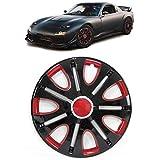 Carparts-Online 29876 Radkappen Radzierblenden für Stahlfelgen Set Tenzo-R VII 14 Zoll schwarz rot