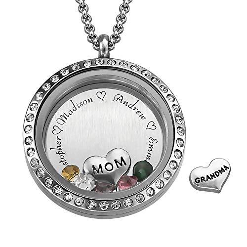 Charm Medaillon Namenskette Silber für Mütter mit 5 Namens & 5 Geburtssteine Muttertagsgeschenk basteln mit Kindern -