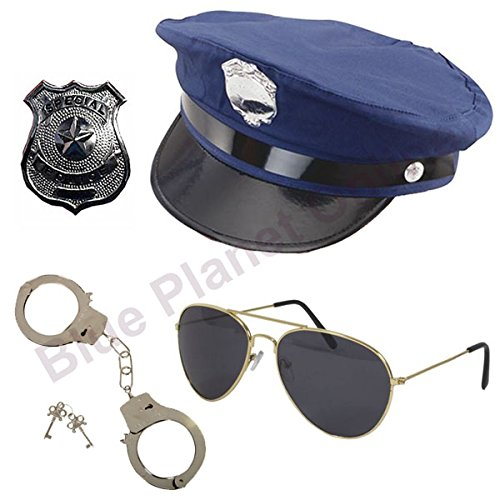 Blauer Planet Online-New York Police American Police Hat, Handschellen, Badge & Aviator Sonnenbrille Fancy Kleid