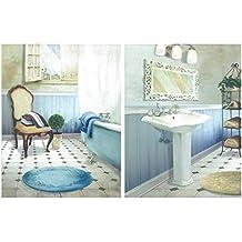 Dcine Cuadro Decorativo de baño en Tonos Azules. Set de 2 Cuadros de 25x19 cm