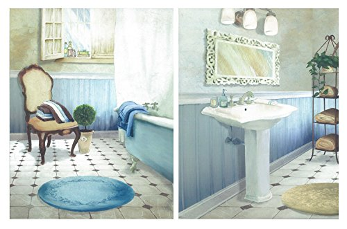 Dcine Cuadro Decorativo baño Tonos Azules. Set 2