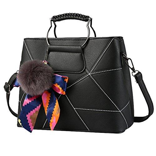 Frauen Mode Geometrie Bogen Crossbody Top-Griff Schultertasche Tote Handtaschen Multicolor Black