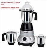 Sumeet Amica 750 W Mixer Grinder(110 volts for use in USA & Canada only) (Grey, Black, 3 Jars)