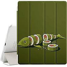 STPlus Fish Cut Into Sushi Maki Divertido Funda Carcasa con Stand Función y Imán Incorporado para el Sueño/Estela para Apple iPad 2 / 3 / 4