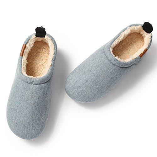 KENROLL Chaussons Chaud Hiver intérieure à la maison Antidérapant Pantoufles pour Femmes pour Hommes (8.5-9 UK/44-45 EU, Bleu clair (pour Hommes)) Bleu Clair (pour Hommes)