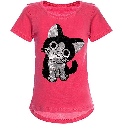 BEZLIT Mädchen Wende-Pailletten T-Shirt Tollen Katzen Motiv 22034, Farbe:Pink, Größe:164
