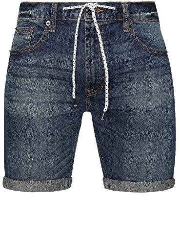 oodji Ultra Herren Jeansshorts mit Bindebändern Blau (7500W)
