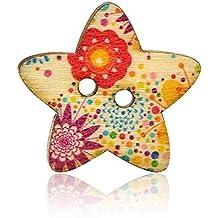 Botones - TOOGOO(R)50Pcs Botones coloridos de 2 agujeros de recuerdos de costura de madera (estrella)