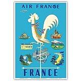 Frankreich - Air France - Gallischer Hahn Wetterfahne und Französische Wahrzeichen - Vintage Retro Fluggesellschaft Reise Plakat Poster von Jean Marie Nabrin c.1951 - Kunstdruck - 33cm x 48cm