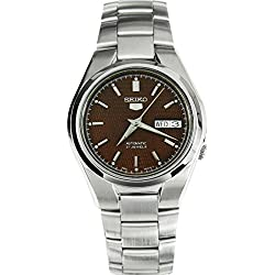 Seiko Men's 5 Gent Automatic Watch with Brown Analogue Display and Face-Grey Steel Bracelet SNK605