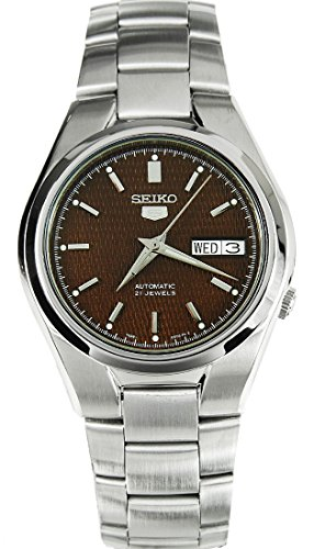 seiko-mens-automatic-watch-with-brown-dial-analogue-display-and-silver-stainless-steel-bracelet-snk6