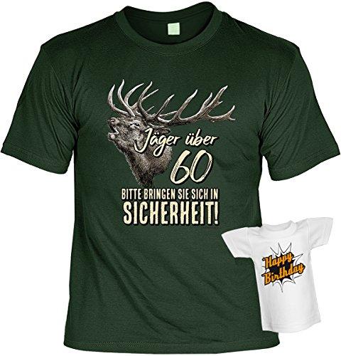 Jäger über 60 Bitte bringen Sie sich in Sicherheit!: Geburtstags/Fun-Shirt-Set inkl. Mini-Shirt/Flaschendeko zum 60. Geburtstag Dunkelgrün