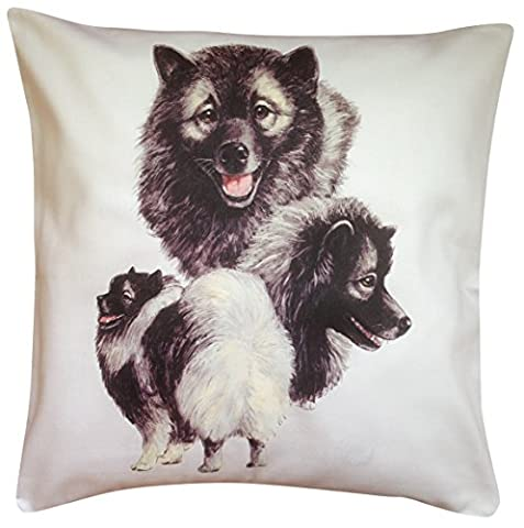 Keeshond Group Breed of Dog Cotton Cushion Cover - Choice of Cream or White - Perfect Gift (White)