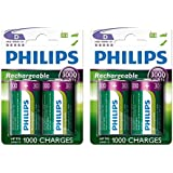 4 x Philips D Size 3000 mAh Rechargeable Ni-MH Batteries HR20, LR20