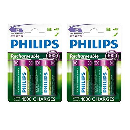 Philips D Size 3000 mAh Rechargeable Batteries LR20 x 4