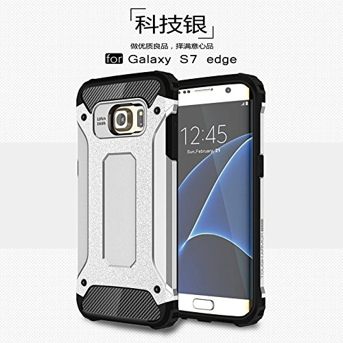 Yqxr accessori del telefono per samsung galaxy s7 edge, dual layer heavy duty hybrid armor tough style antiurto custodia rigida protettiva per pc + tpu (colore : argento)