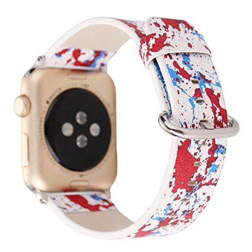 Ouneed Für Apple Watch 38mm Uhrenband , Lederband Ersatzband Tour Armband Uhrenarmband für Apple Watch 38MM - Apple-weiß-kleidung