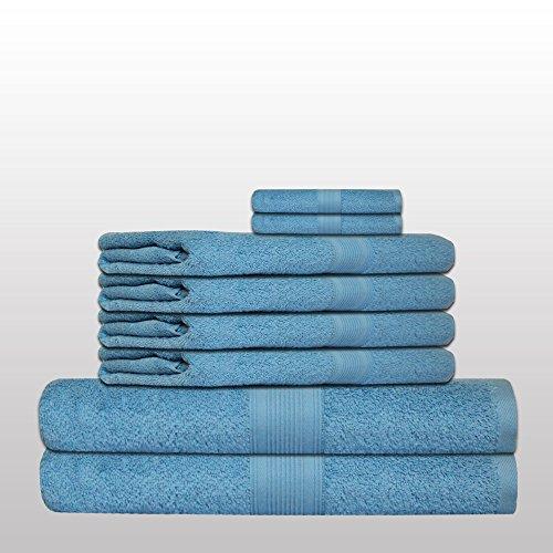 8 tlg. klassisches Handtuch-Set - Qualität 500 g/m² - alle Farben - 4x Handtücher - 2x Duschtücher - 2x Gästetücher - 100% Baumwolle - hellblau