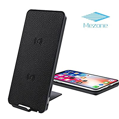 Mezone 10W Fast Wireless Charger Stand Station For iPhone X/8/8 Plus, Slim Qi Wireless Charging Pad For Samsung Galaxy S9 S9 Plus Note 8 S8 S8 Plus All Qi-Enabled Devices (Black) by Wireless Charging Stand