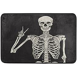 Use7 Vintage Hipster Skeleton - Felpudo (60 x 40 cm), diseño de Calaveras de azúcar