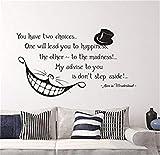 wandaufkleber 3d blumen Alice im Wunderland Zitat Wand Vinyl Aufkleber Cheshire Cat Aufkleber Produkt Made in USA Lächeln Aufkleber Wand Schriftzug für Home Schlafzimmer Kinderzimmer Dekor
