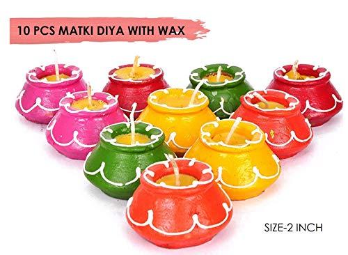 CRAFTSMAN Diwali-Dekorationen von Matki Diya, handgefertigt, natürliches Erdöl, traditionelles Diyas, mit Baumwolldochten, Batti, 10 Stück Deepawali Diya Lampe. Diwali Erdlampe Öllampe