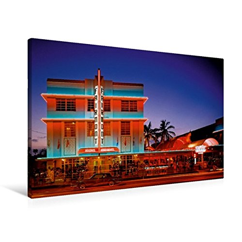 South Beach Miami Art Deco (Premium Textil-Leinwand 90 cm x 60 cm quer, Todschick – die historischen Gebäude im Art Deco District am South Beach | Wandbild, Bild auf Keilrahmen, ... Miami Beach, Florida, USA (CALVENDO Orte))
