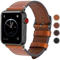 Fullmosa Apple Watch Armband 38mm und 42mm, Wax Series iWatch Leder Band/Armbänder für Apple Watch Series 3, Series 2, Series 1,42mm Uhrenarmband, Hellbraun + Dunkelgrau Schnalle