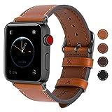 Fullmosa Apple Watch Armband 38mm und 42mm, Wax Series iWatch Leder Band/Armbänder für Apple Watch Series 3, Series 2, Series 1,38mm Uhrenarmband, Hellbraun + Dunkelgrau Schnalle