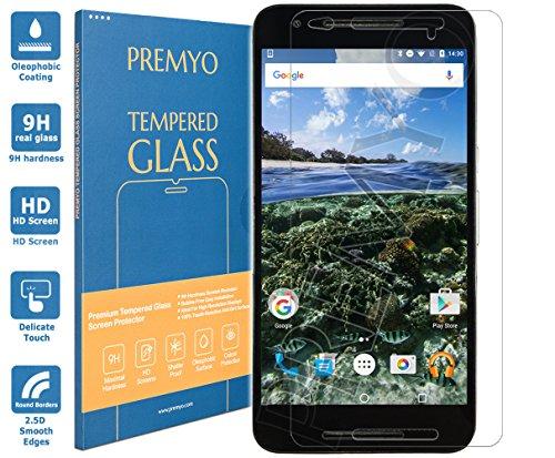 PREMYO Panzerglas Schutzglas Bildschirmschutzfolie Folie kompatibel für Nexus 6P Blasenfrei HD-Klar 9H 2,5D Gegen Kratzer Fingerabdrücke