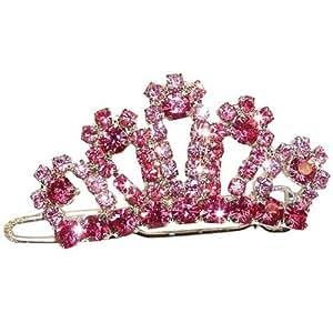 """Barrette couronne strass rose """"Pink Lilly"""" 4cm von Vivog"""