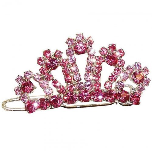 Artikelbild: VIVOG Haarspange Strasskrone rosa Pink Lilly 4cm