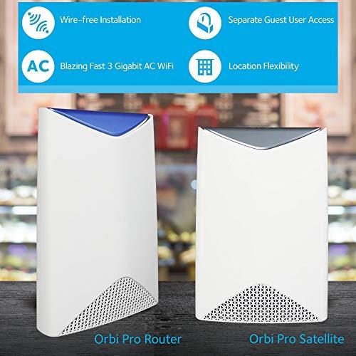 NETGEAR ORBI PRO Système Wifi Mesh amplificateur ultra puissant pour l'entreprise SRK60 (1 routeur + 1 satellite extender) – Jusqu'à 350m² de couverture