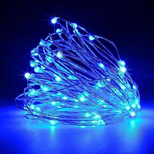 lampenstring, sansee 100 LED USB fil de cuivre Noël Fairy String lumière 8 modes de bleu