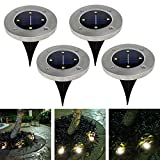 Set of 4�Solar Powered LED Ground Recessed Light Led Outdoor Solar 4LED Stainless Steel Ground Buried Floor Lighting Light Lamp