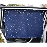 FREESOO 2x Cortinas para Ventanas de Coche Cortinillas Universal con 5 Ventosas 70cm * 50cm Protección solar UV Parasol para bebes niños mascotas