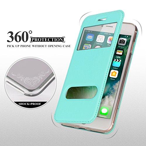 iPhone 8 Plus Hülle , iPhone 7 Plus Hülle, Fyy® hochwertige umweltfreundliche Kunstleder Hülle (Tasche Schale Schutzhülle Case Cover Etui) Apple iPhone 8/7 Plus ,Rosa Gold A-Mintgrün