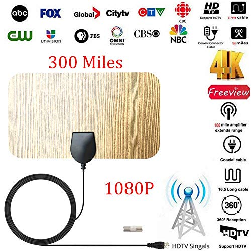 Beimaji Trade TV Antenne Digital HDTV Indoor Outdoor Ultradünne TV Antenne Verstärkt 300 Meilen 4K HD 1080P Neue Holz Textur Home Decoration TV Antenne für Home Smart Television (Tv Digital Antennen)