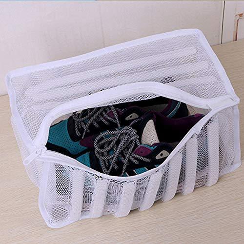 Bolsa de malla para zapatos de lavandería, zapatillas deportivas, bolsa de lavado, calzado, organizador protector para lavadora con cremallera duradera Tamaño libre blanco