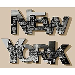 2er set bild new york 90cm schriftzug buchstaben manhattan. Black Bedroom Furniture Sets. Home Design Ideas